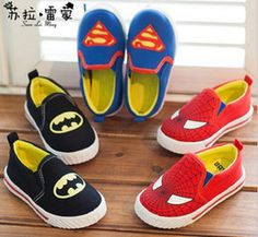 Wholesale 30pcs HIGH Quality Superman Spiderman Batman classic shoes years old baby shoes children s shoes casual shoes kids shoes pairs