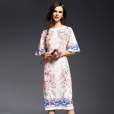 White Flower Appliques Half Flare Sleeve Vintage Printed Straight Knee-length Dress