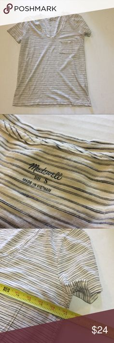 Madewell Striped Short Sleeved Tee - #148 Madewell. Size Small. Cream and grey/black striped comfy tee.  Pair with skinny jeans for a great weekend look!  See pics for approximate measurements and fabric content.  I accept most offers and ship quickly. Madewell Tops Tees - Short Sleeve