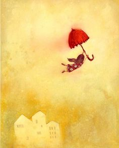 "Fly away: Print by Lee White (11""x14"", $45.00) #illustration #umbrella #girl #LeeWhite"