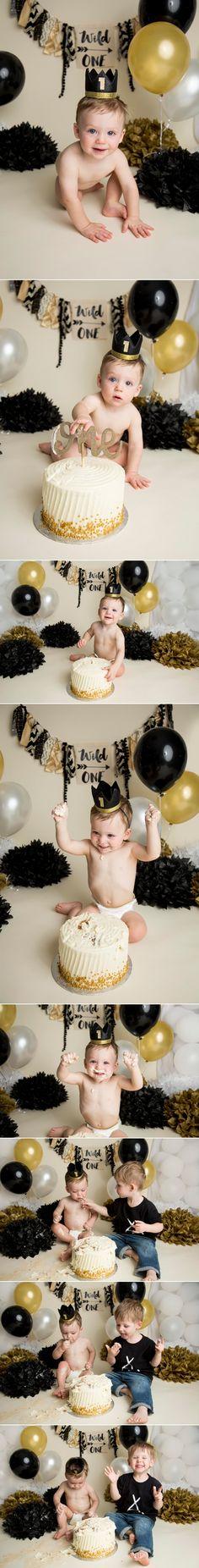 Wild One Gold Black and White Cake Smash  Regina Photographer