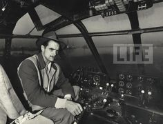 "Eccentric millionaire Howard Hughes sits at the controls of his 200 ton flying boat named the ""Spruce Goose"". 1947."