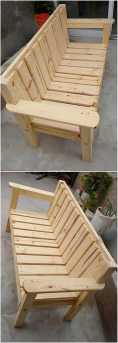 How flawlessly this bench artwork of the wood pallet design has been created out that will be adding extra beauty impact in your house garden areas. This bench simple work is best designed in the easy to build up shaping approach where the moderate s Wooden Pallet Projects, Wooden Pallet Furniture, Wooden Pallets, Pallet Ideas, Woodworking For Kids, Woodworking Bench, Furniture Projects, Diy Furniture, Wood Bench Plans