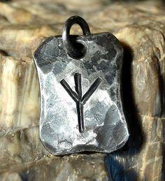 Forged Iron ALGIZ Rune Viking Amulet Pendant Nordic Talisman Necklace Hammered Runic