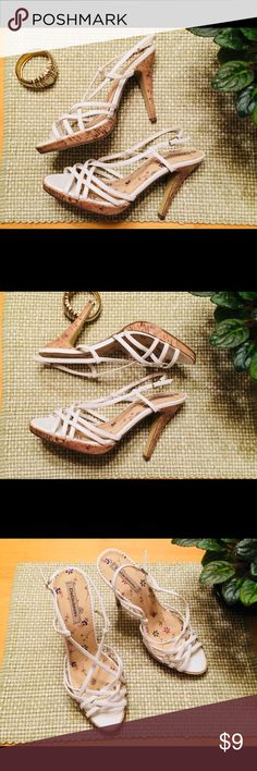 *SALE*Delicious Cork detail sandal heels These are in good used condition. They have some signs of normal wear, some small scuffs, but nothing major. They are US size 9. Delicious Shoes Heels