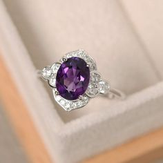 Purple amethyst ring sterling silver oval cut engagement