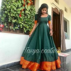 Green and Orange South Indian Fashion Gown