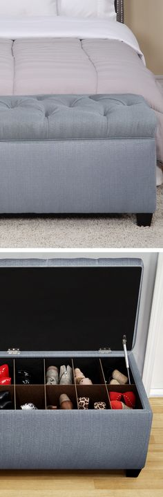Upholstered Shoe Storage Ottoman Bench.  So perfect for bedroom or hall organization.