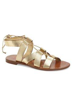 kate spade gold lace-up sandal