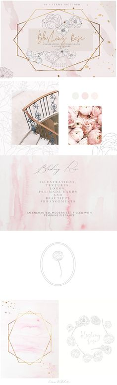 Blush Textures Floral Illustrations by Laras Wonderland on @creativemarket