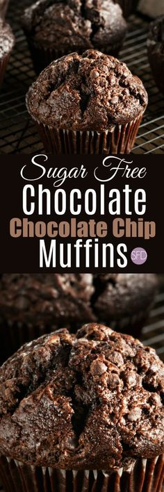The Recipe for Tasty Sugar Free Chocolate Chocolate Chip Muffins FABULOUS and YUMMY! Oh and these are sugar free too! Sugar Free Deserts, Low Sugar Desserts, Sugar Free Sweets, Low Sugar Recipes, No Sugar Foods, Dessert Recipes, Jelly Recipes, Flour Recipes, Sugar Free Chocolate