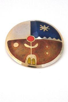 de Passillé-Sylvestre, Canada - Modernist large enamel 'elemental person' brooch