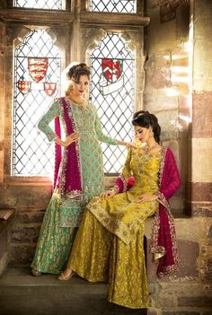 Hoor By Qasim Pakistani couture Pakistani Couture, Pakistani Bridal, Pakistani Outfits, Indian Outfits, Pakistani Gharara, Pakistani Clothing, Ethnic Outfits, Indian Attire, Indian Wear