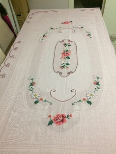 Crochet Tablecloth, Bohemian Rug, Embroidery, Pink, Pillows, Design, Cross Stitch Embroidery, Towels, Table Toppers