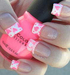 """""""Valentine Hearts w/ Pearls"""" nail art by Tawnee L. Cordova.      Follow me on Pinterest and Facebook for NEW Designs every week!"""
