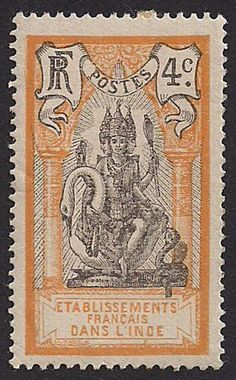 French India, 4 centimes, 1914 : : Lord Brahma seated upon a swan. Old Stamps, Rare Stamps, Vintage Stamps, French India, Postage Stamp Collection, Human Art, Tampons, Mail Art, Stamp Collecting