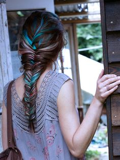 Highlights for brown hair | Glam Bistro fishtail braid with blue highlights one of the best photos of a fishtail braid on Pinterest