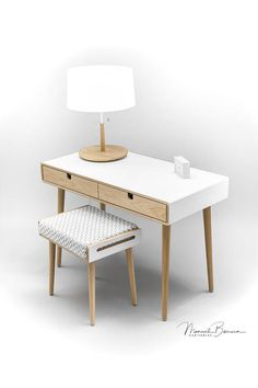 Desk white in lacquer dressing table with white stool
