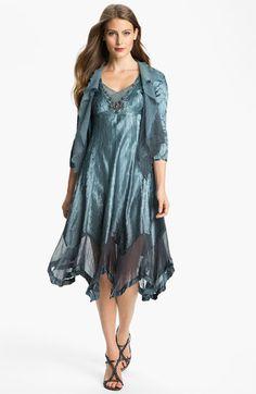 Komarov Beaded Pleated Charmeuse Dress & Jacket available at #Nordstrom