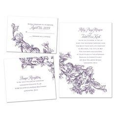 Parisian Plumes - Bundle Basic - Inexpensive Wedding Invitations at Invitations By David's Bridal #FlourishInvitations #BudgetFriendly #DavidsBridal #WeddingInvitations #BundleInvitations
