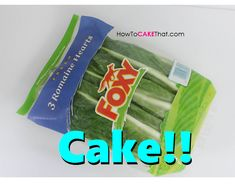 Completely EDIBLE Bag of Romaine Lettuce Cake! And you won't believe how easy it is to make! Tutorial uses Edible Gelatin Cellophane Plastic as the bag, and edible image labels on icing sheet, and edible wafer paper lettuce leaves!