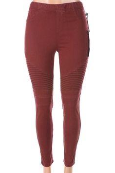 Salt Tree Women's Moto Style Ankle Zip Legging Pants, US Seller