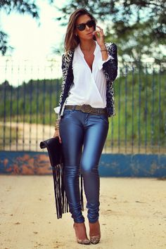 blue leather pants Chiclet Store pants white Chiclet Store blouse blue animal print Chiclet Store cardigan