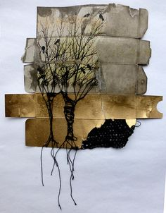 """in between"" - altered cardboard packaging by Ines Seidel 