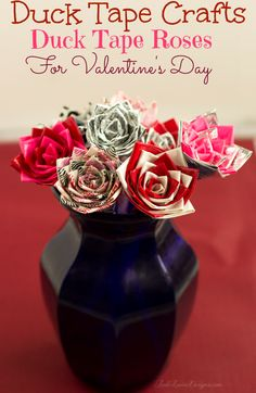 Duck Tape Crafts: How to make Duck Tape Roses for Valentine's Day #DuckValentine #ducktape #roses #crafts #valentinesdaycrafts #valentinesday