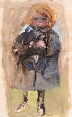 Joan Eardley, Girl in a Macintosh, Holding a Sou'wester, pastel Popular Artists, Famous Artists, British Artists, Artist Art, Artist At Work, Figure Painting, Painting & Drawing, Natural Form Artists, Glasgow School Of Art