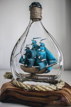 Ship in a bottle Gift for Sailor Husband gift Room Decor