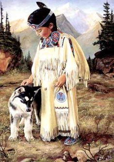 Children Of The Earth. Sioux child and her dog.   Artist Joseph S. Venus