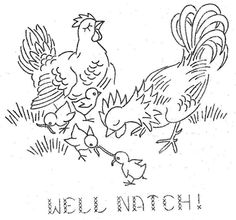 Vintage Embroidery Transfer repo 5760 A Chick's Romance for Dish Towels Rooster