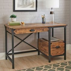 Industrial Wood Desk Rustic Weathered Pine Vintage Metal Black Frame Drawer NEW