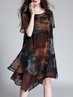 Vintage Style Asymmetrical Printed Short Sleeve Midi Dress