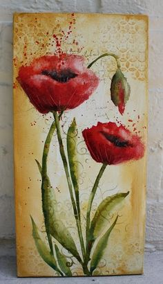 Poppies, watercolor on canvas, Martha Lever