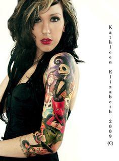 Tim burton sleeve tattoo! Love love love this!!!!!! Nightmare Before Christmas Tattoo | Jack Skellington Tattoo | Disney Tattoos | sleeve tattoo