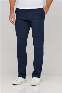 Buy Dark Blue Slim Fit Stretch Chinos from the Next UK online shop