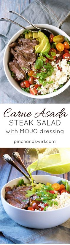 Carne Asada Steak Salad with Mojo dressing is a lightened up and delicious way to serve grilled Carne Asada steak! With steak, tomatoes, feta, avocado and a zingy Mojo dressing that's a riff on Carne Asada marinade! This and more tasty carne asada recipes at PinchandSwirl.com