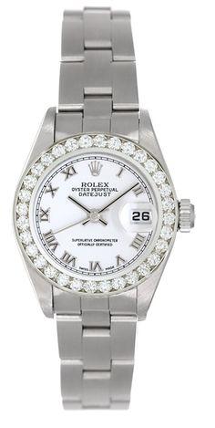 Rolex 2002 Ladies Datejust, Steel Watch, 79174, With Diamond Bezel & White Dial #Rolex #LuxuryDressStyles
