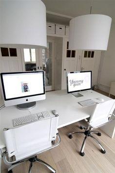 white minimalist home office workspaces