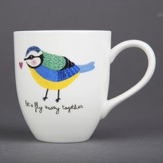 "The gorgeous 'Marlene' Bird Mug features a cute little blue tit and the text ""Let's fly away together"" on the front and back. Perfect for brightening up your coffee break and equally perfect for giving as a gift to a special person.Dishwasher and microwave safe. Capacity 260ml. Dimensions:  12 x 10 cm Made From:  double porcelain"