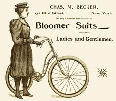 Becker ad for bicycle bloomer suits from Victorian Women, Victorian Era, Victorian Fashion, Vintage Fashion, Pub Vintage, Vintage Ephemera, Cycling Suit, Antique Bicycles, Old Advertisements