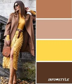Fashionable yellow color in perfect harmony with the . Fashionable yellow color in perfect harmony Colour Combinations Fashion, Color Combinations For Clothes, Fashion Colours, Colorful Fashion, Colour Pallete, Colour Schemes, Color Trends, Color Combos, Mode Inspiration