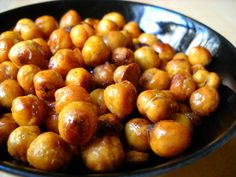 Maza: Roasted Chickpeas, sprinkled with cajun spice & brown sugar, drizzled with olive oil, bake @400 for 30 min