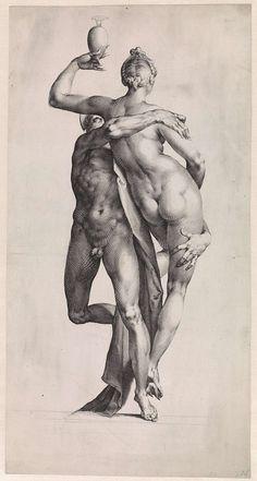 Mercurius en Psyche: aanzicht met de achterzijde van Psyche, Jan Harmensz. Muller, Adriaen de Vries, 1595 - 1599