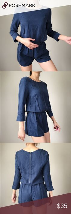 """Sadie suede romper Suede like romper in tasteful dark BLU real Fabric 100%LYOCELL . Measurements; length/bust/waist/inseams. Xs:33/19:16:2.5"""", S;33""""/20/17""""/3"""", M:34""""/21""""/18""""/3.5"""" . L:34"""":22""""/19""""/3.5"""". Please check for more sizes available .PLEASE DO NOT USE MY PICTURE WITHOUT PERMISSION.  This is NOT vendor photo stock. This is me putting extra effort into modeling and taking the picture myself. Please only use it with permission. I will truly appreciate it. Thank you CHICBOMB Pants…"""