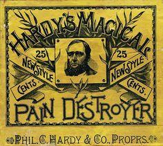 Hardy's Magical Pain Destroyer - vintage label via sheaff