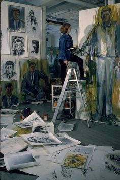 Painter Elaine de Kooning working on John F Kennedy painting in Manhattan studio, 1964, New York, NY. Photo by Alfred Eisenstaedt, LIFE.