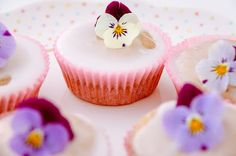 Rhubarb fairy cakes with edible pansies #vegan